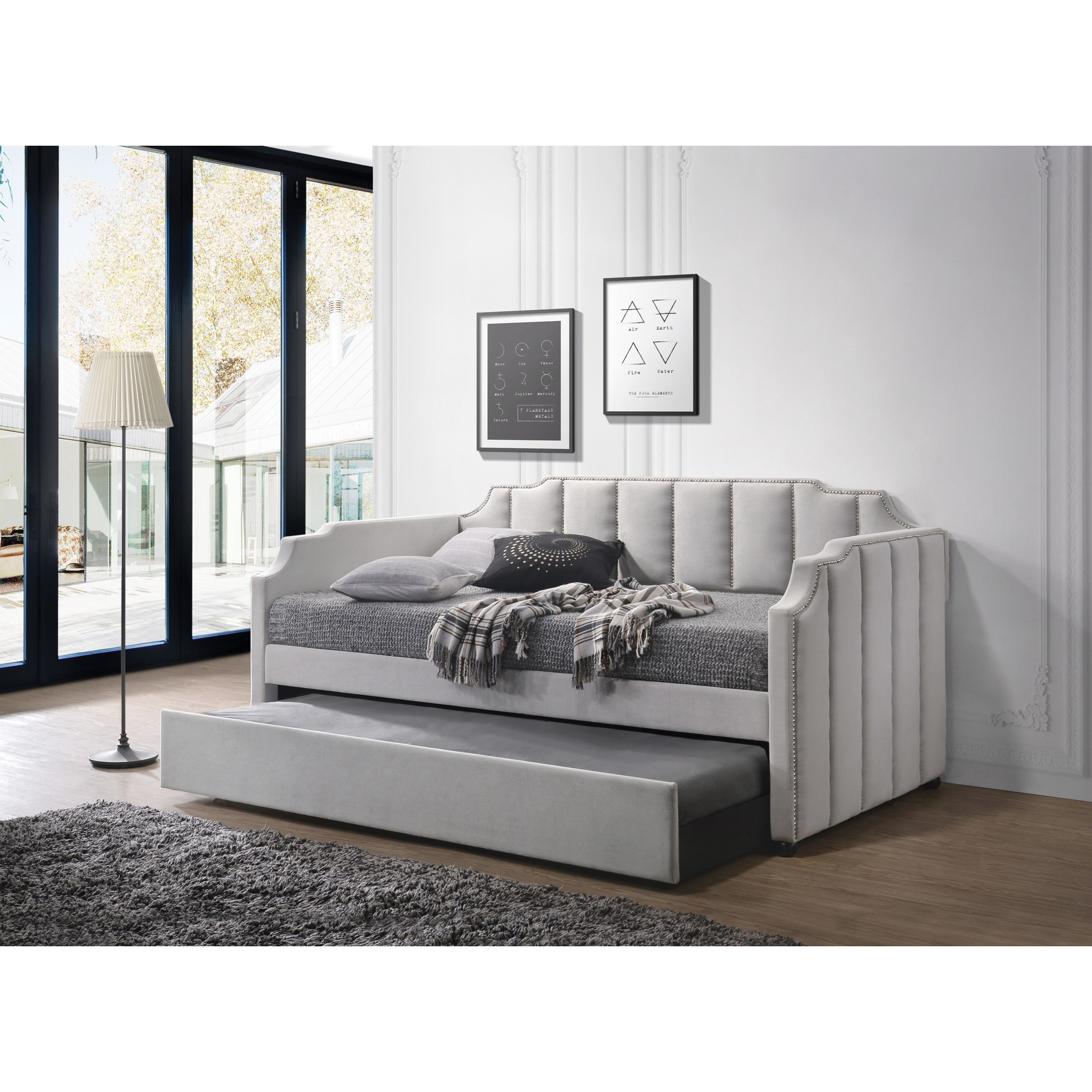 Acme Furniture Peridot 39410 Twin Daybed Trundle In Dove Gray Velvet Corner Furniture Daybeds