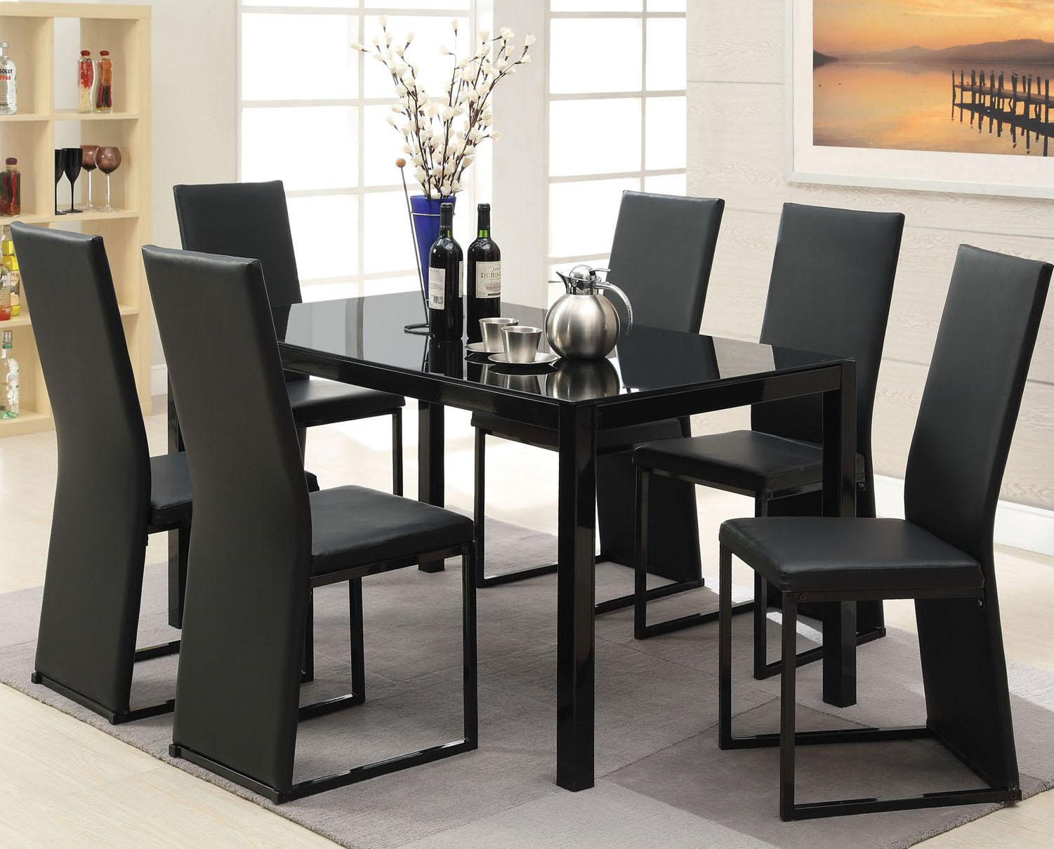 Acme Furniture Riggan Contemporary Black Leg Table With Black Vinyl Chairs Set Rooms For Less Dining 7 Or More Piece Set