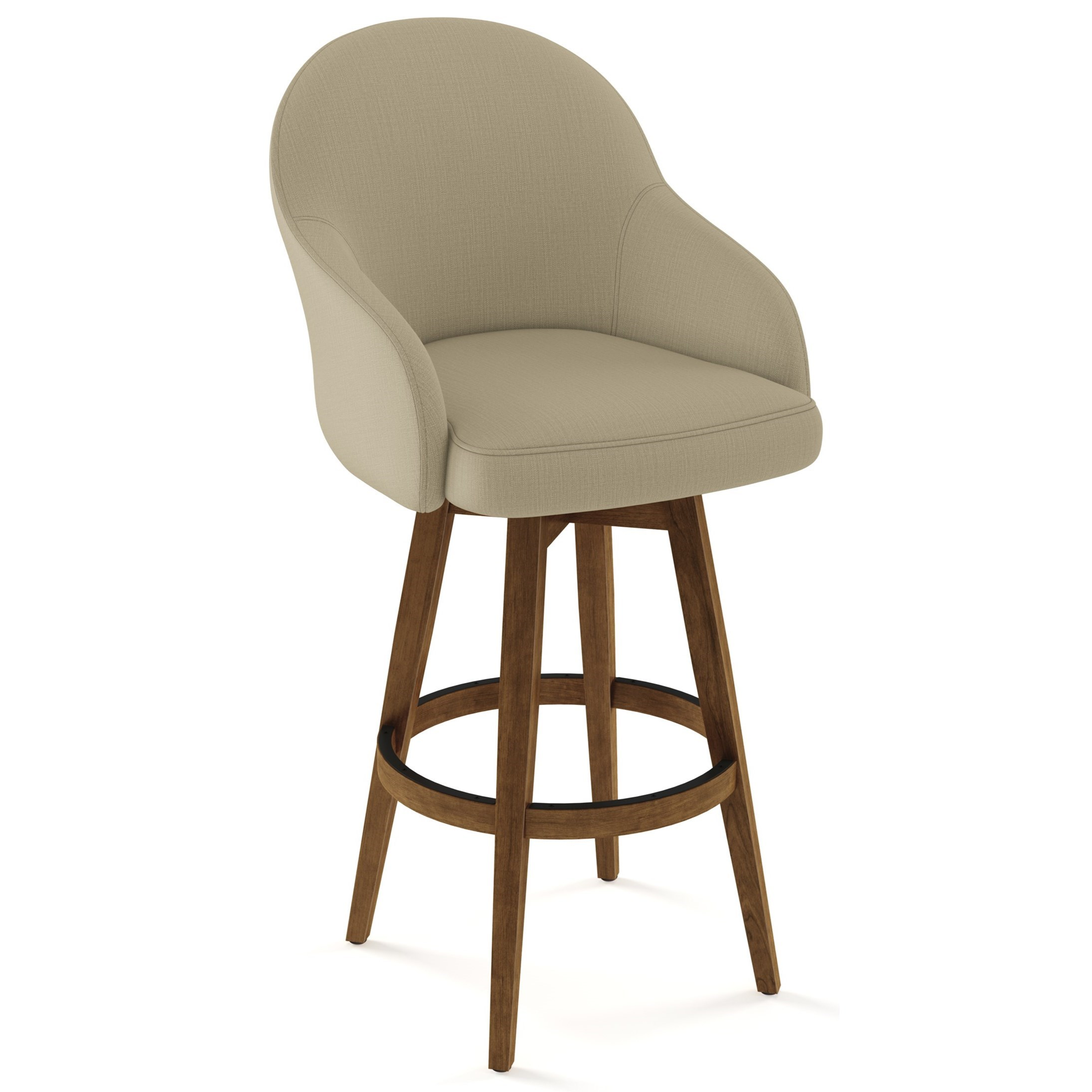 Amisco Farmhouse Customizable 30 Collin Swivel Bar Stool With Upholstered Seat And Back Belfort Furniture Bar Stools