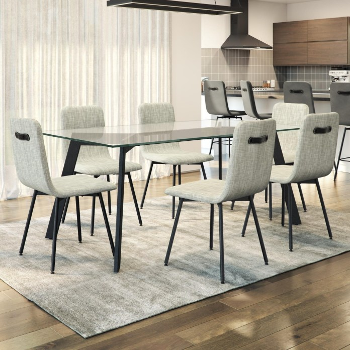 Amisco Urban Customizable 7 Piece Lidya Table Set With Glass Top Rooms And Rest Dining 7 Or More Piece Sets