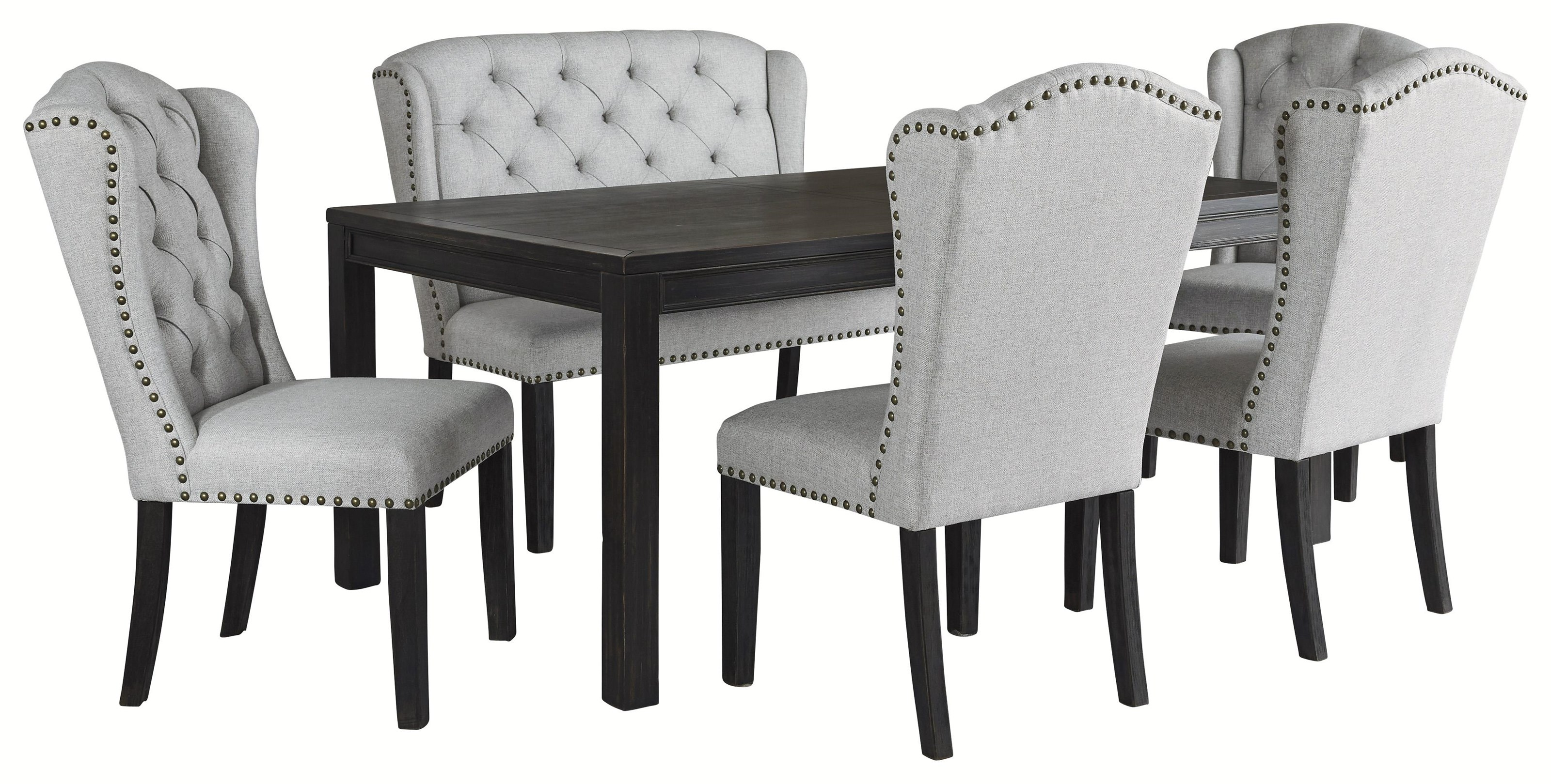 Ashley Furniture Jeanette D702 25 4x01 08 6 Piece Rectangular Dining Table 4 Upholstered Side Chairs And Upholstered Bench Sam Levitz Furniture Table Chair Set With Bench