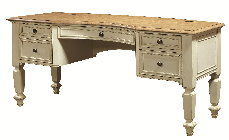 Aspenhome Cottonwood I67 371 Curved Top Half Pedestal Desk Baers Furniture Double Pedestal