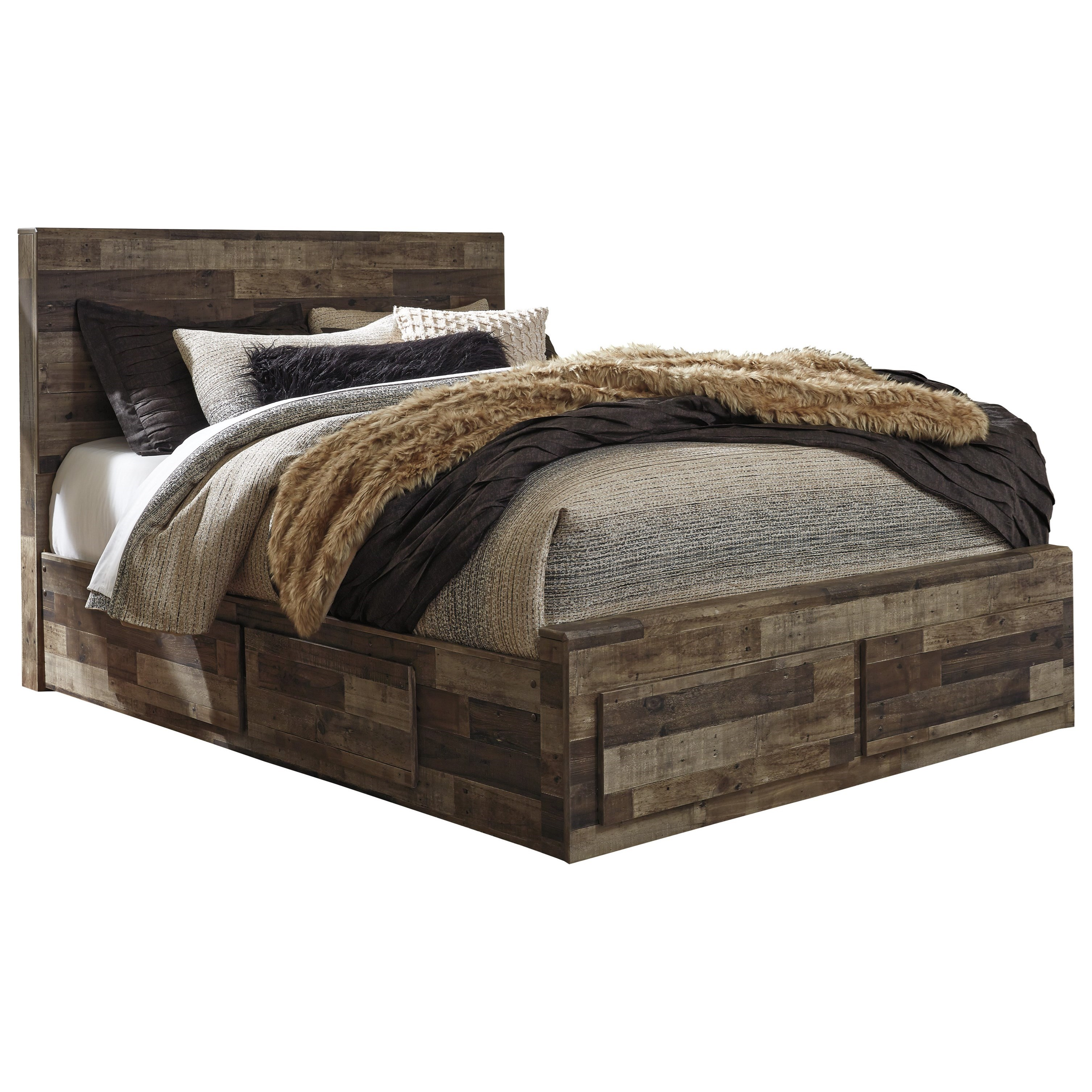 Ashley Furniture Benchcraft Derekson Rustic Modern Queen Storage Bed With 6 Drawers Del Sol Furniture Platform Beds Low Profile Beds