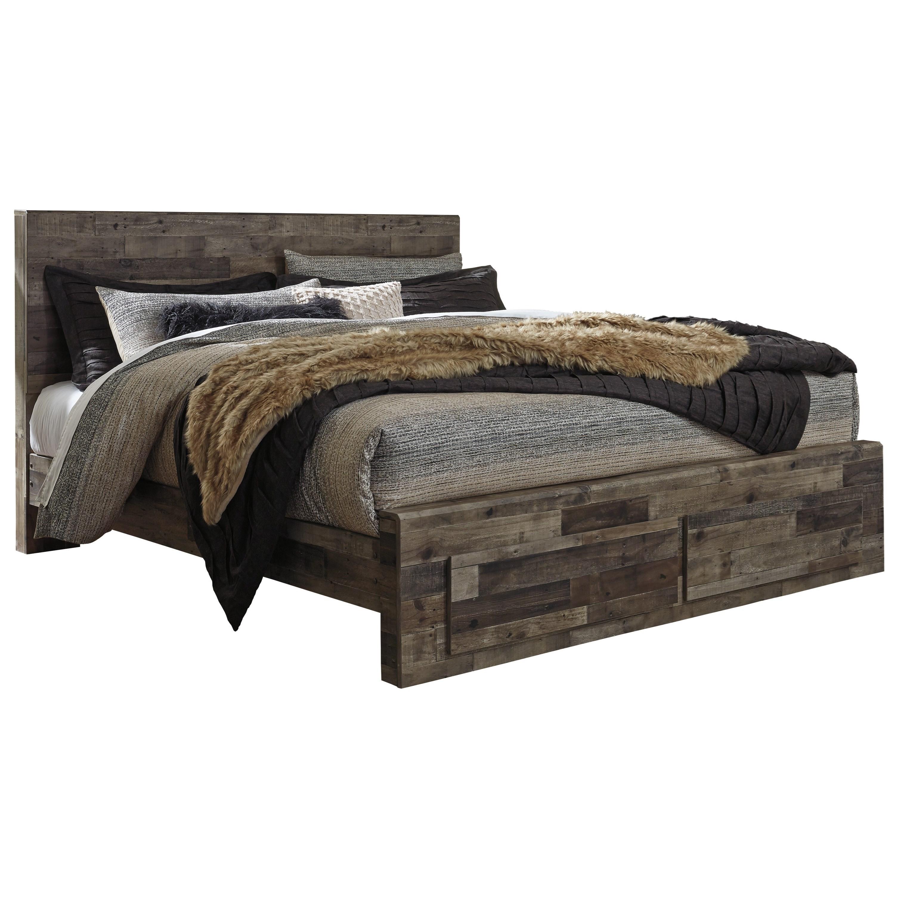 Benchcraft Derekson Rustic Modern King Storage Bed With 2