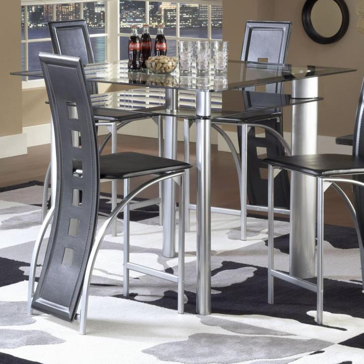 bernards astro smoked glass counter height pub table - black / satin
