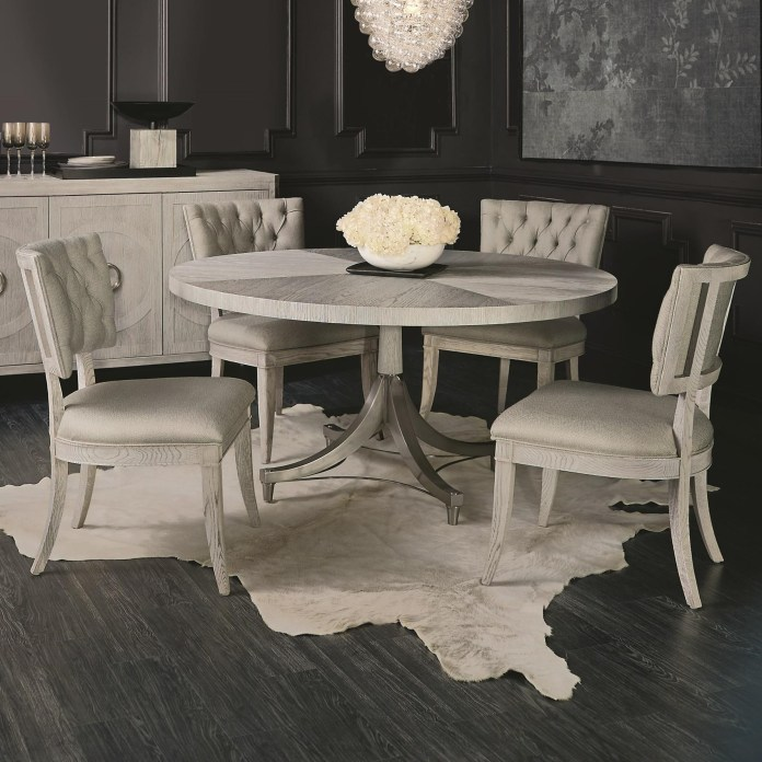Bernhardt Domaine Blanc 5 Piece Round Dining Set With Upholstered Chairs Belfort Furniture Dining 5 Piece Sets
