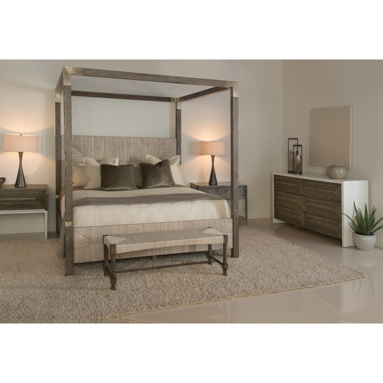 Bernhardt Palma California King Woven Abaca Canopy Bed