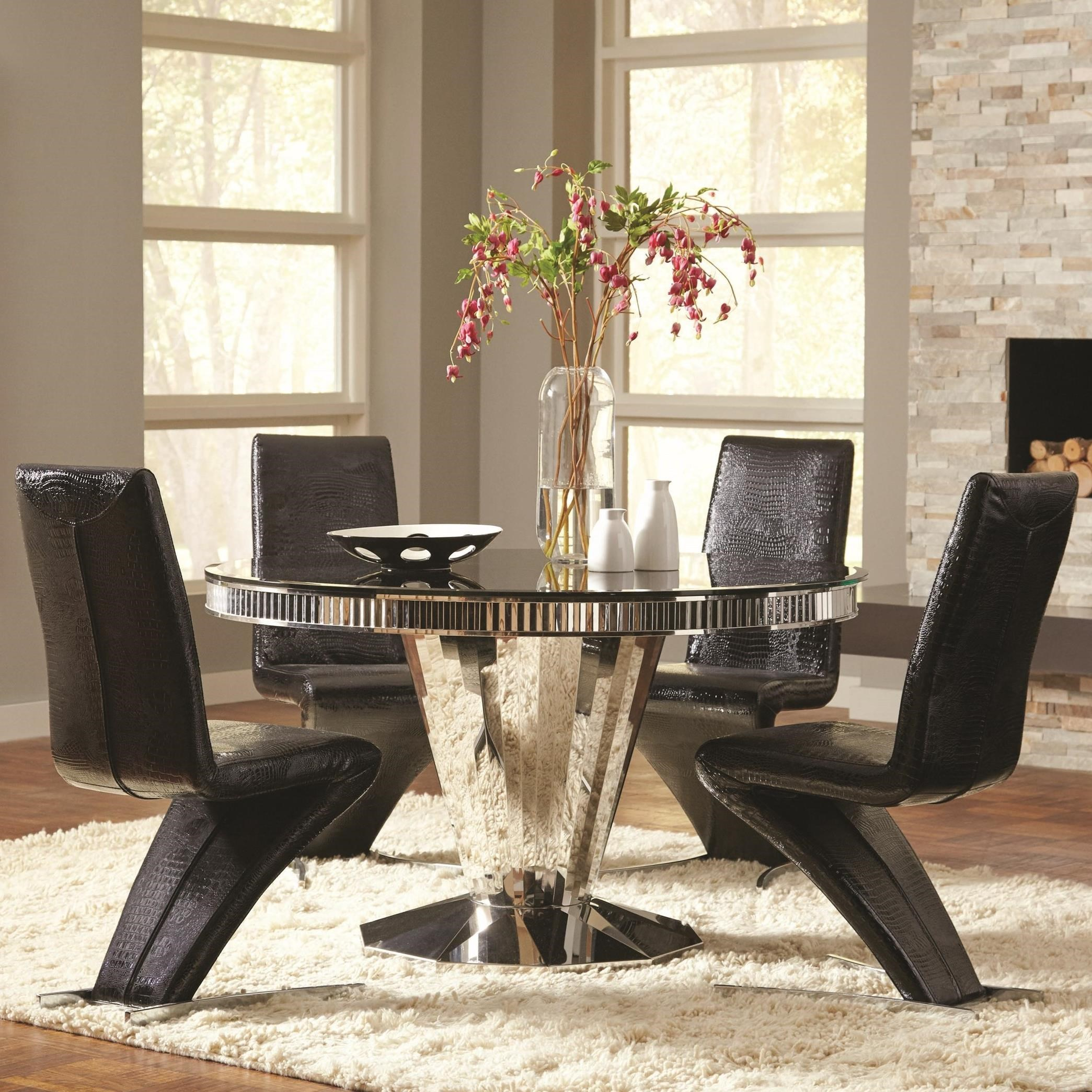 Coaster Barzini 5 Piece Round Dining Table And Black Leatherette Chair Set A1 Furniture Mattress Dining 5 Piece Sets