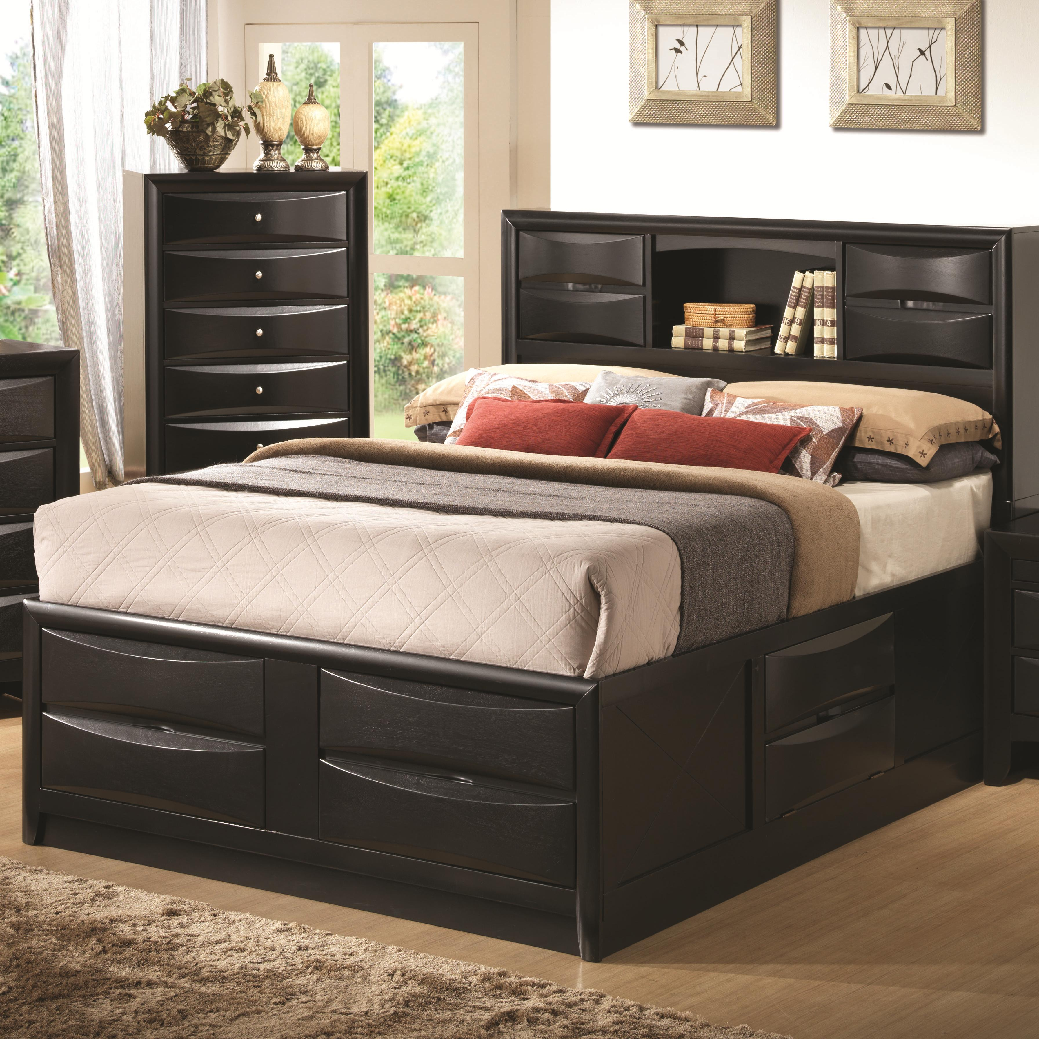 Coaster Briana Queen Contemporary Storage Bed With Bookshelf A1 Furniture Mattress Bookcase Beds