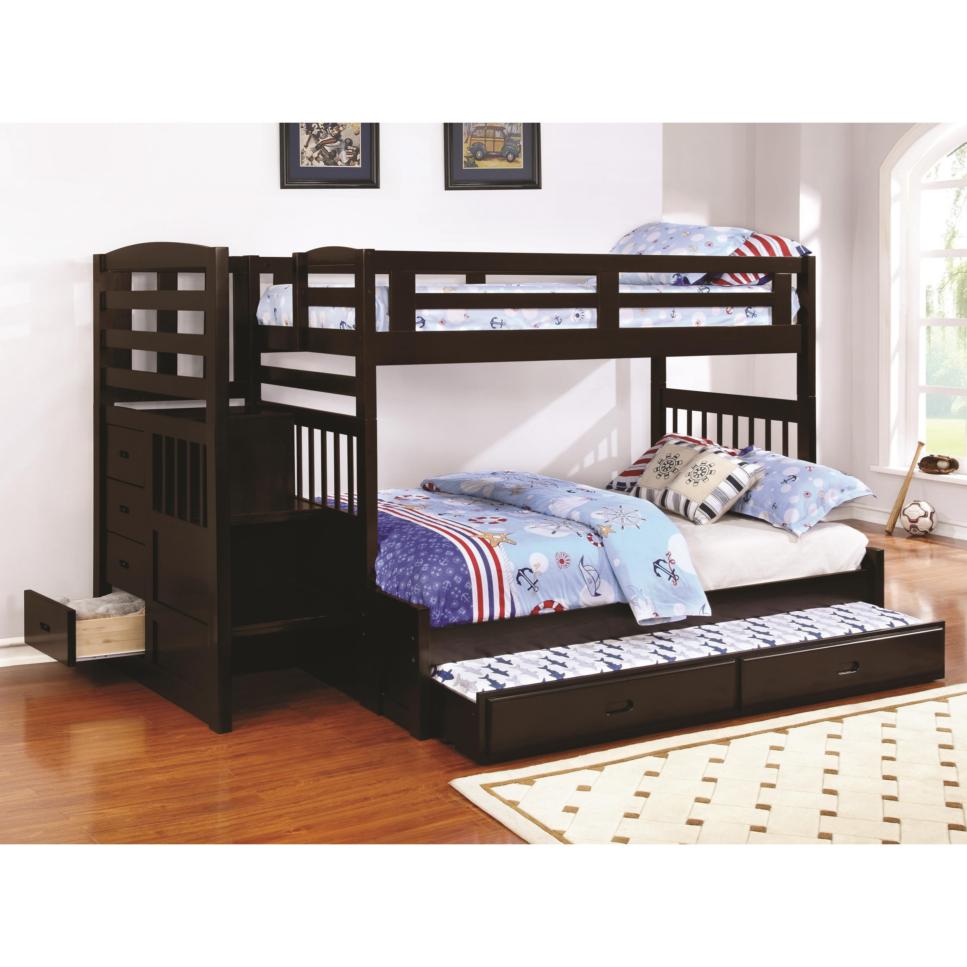 Coaster Dublin Twin Over Full Stairway Bunk Bed A1 Furniture Mattress Bunk Beds