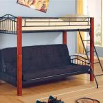 Coaster Haskell Metal And Wood Casual Twin Over Futon Bunk Bed A1 Furniture Mattress Bunk Beds