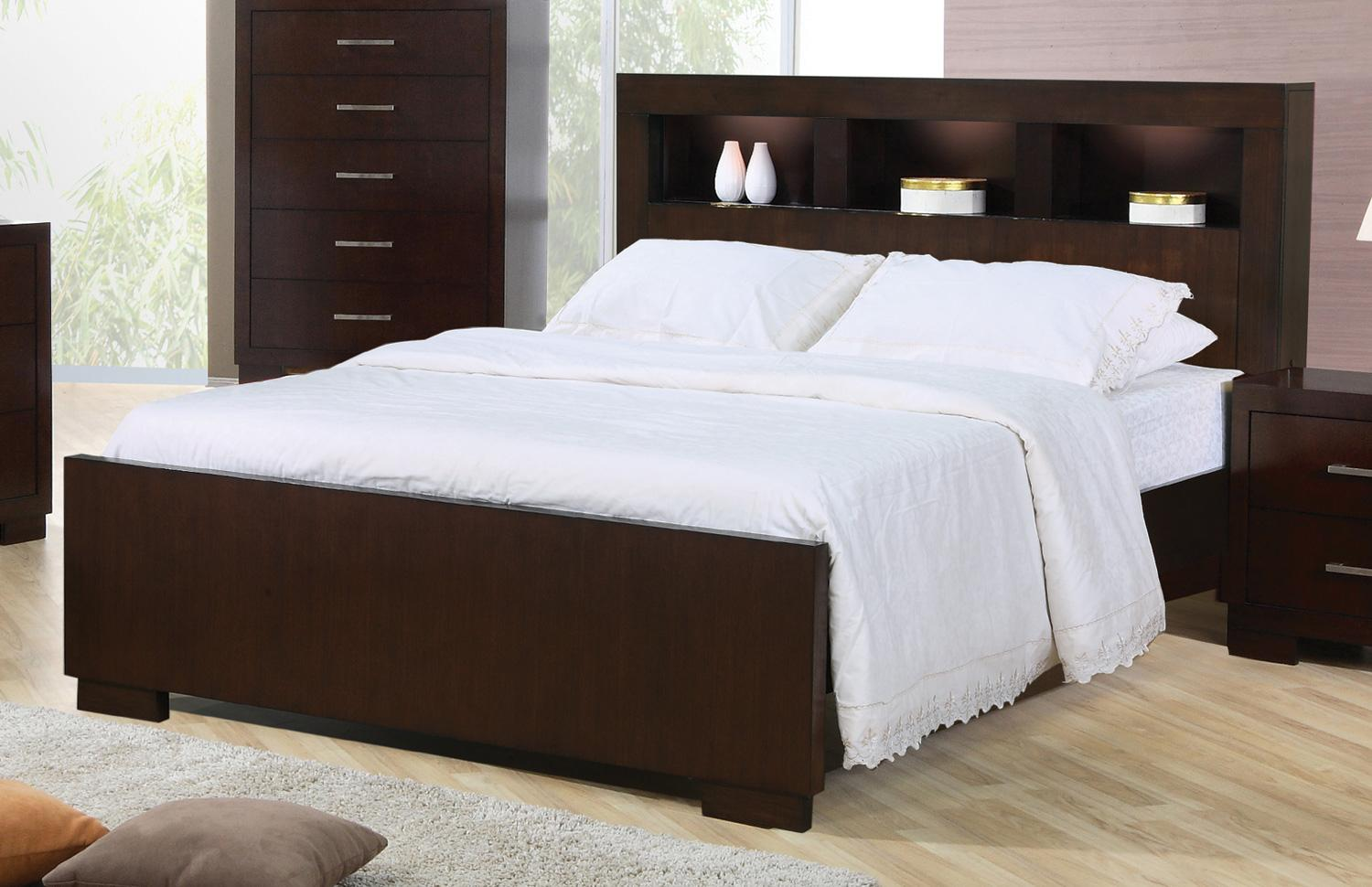 Jessica King Contemporary Bed With Storage Headboard And Built In Lighting Sadler S Home Furnishings Bookcase Beds