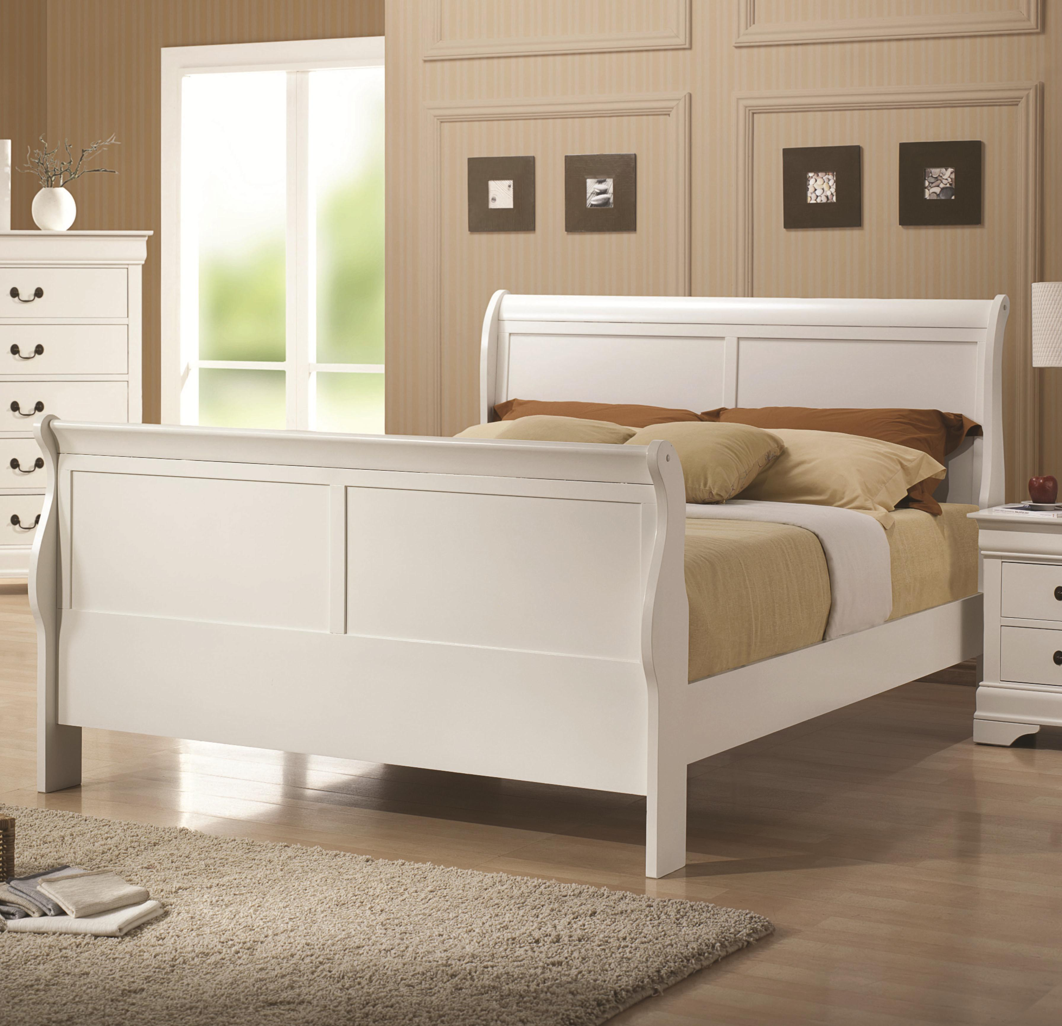 Coaster Louis Philippe 204 White Finish Twin Sleigh Style Bed Value City Furniture Sleigh Beds