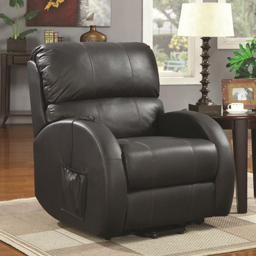 Coaster Recliners Top Grain Leather Power Lift Recliner