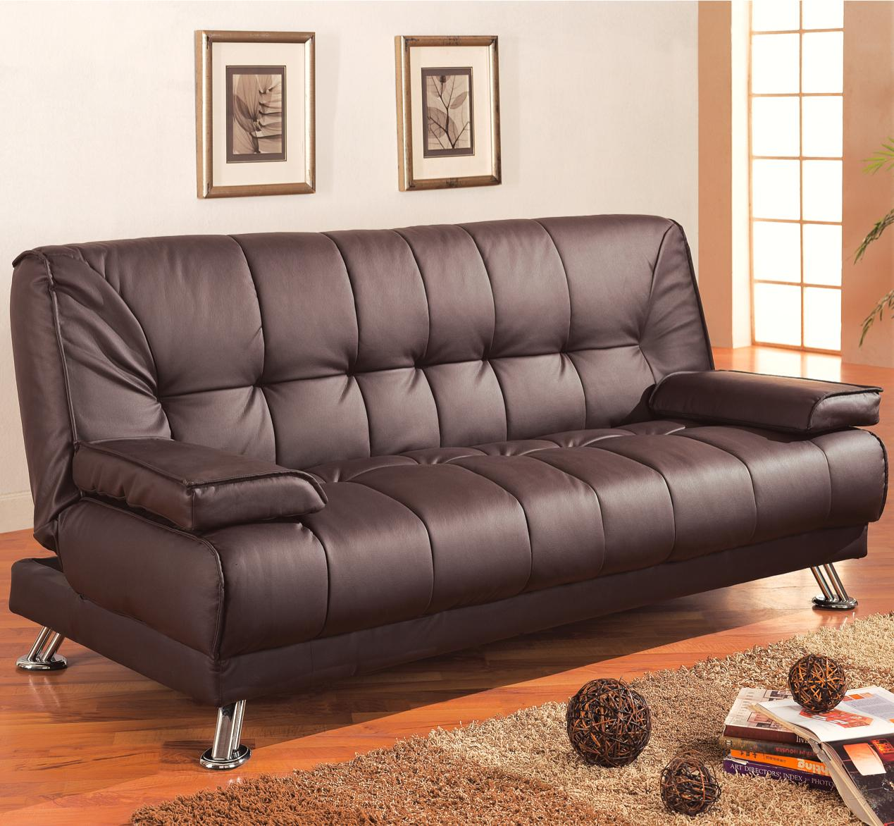 Coaster Sofa Beds And Futons Faux Leather Convertible Sofa Bed With Removable Armrests A1 Furniture Mattress Futons