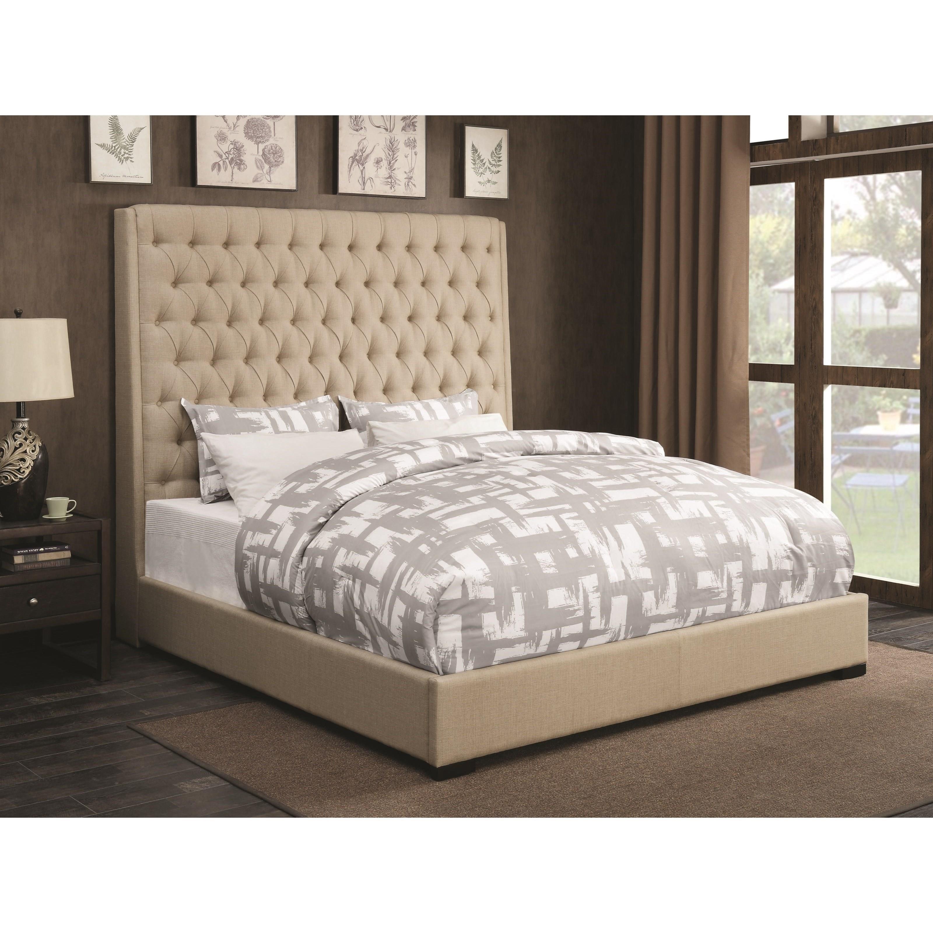 Coaster Upholstered Beds 300722ke Upholstered King Bed With Diamond Tufting Corner Furniture Upholstered Beds
