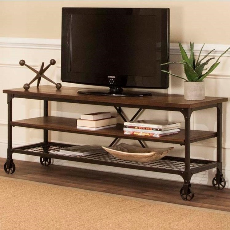 Cramco Inc Craft Industrial TV Stand With Open Shelves
