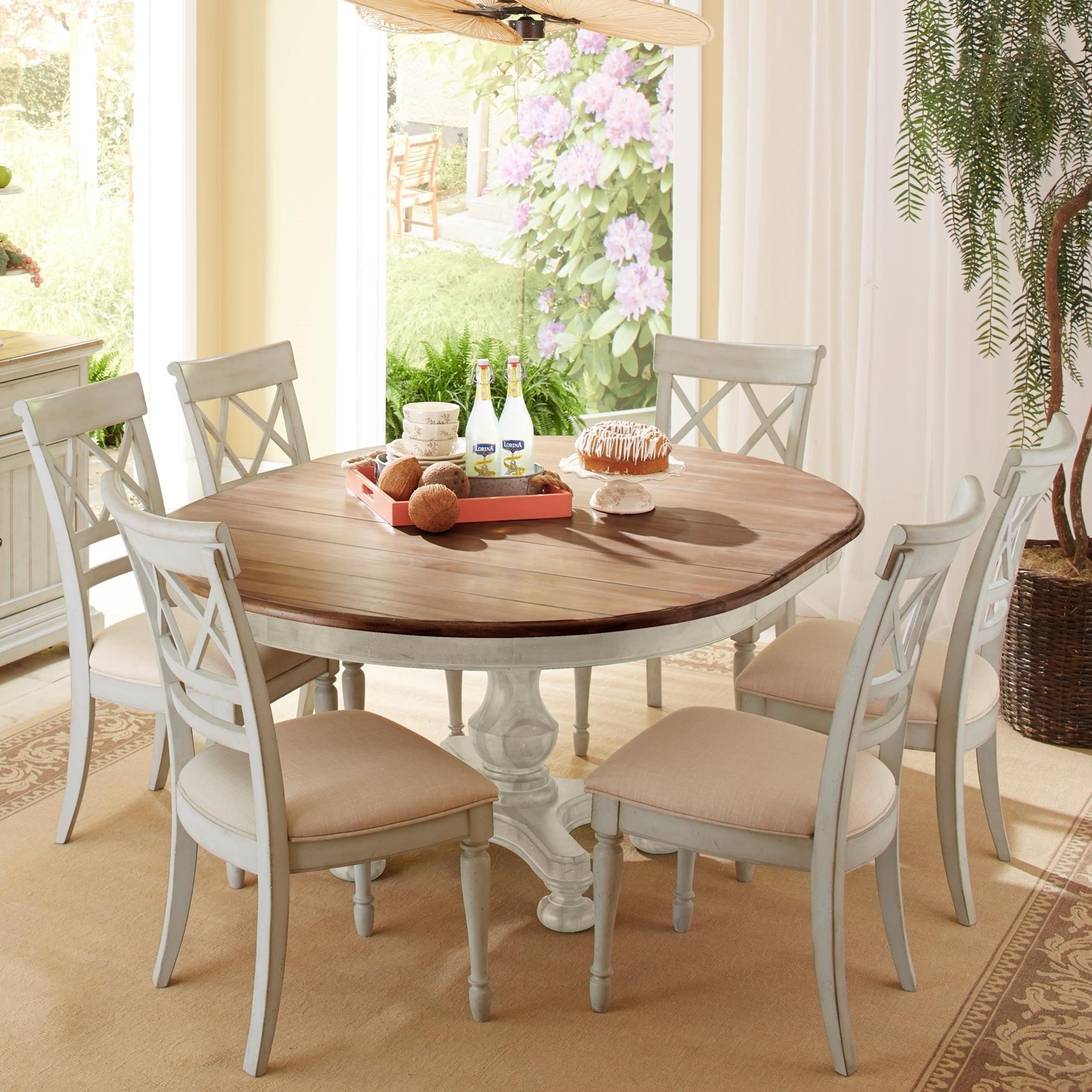 Cresent Fine Furniture Cottage 7 Piece Round Table And