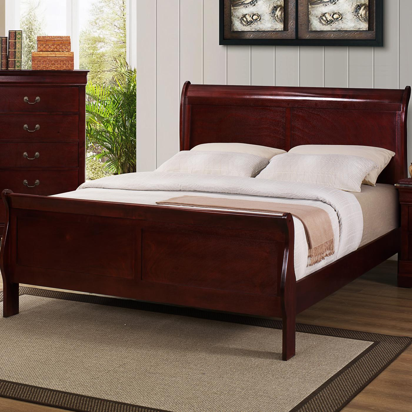 Crown Mark B3800 Louis Phillipe King Sleigh Bed With