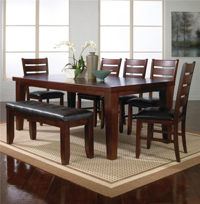 Crown Mark Bardstown 7 Piece Dining Table Set W 5 Chairs 1 Bench Royal Furniture Table Chair Set With Bench