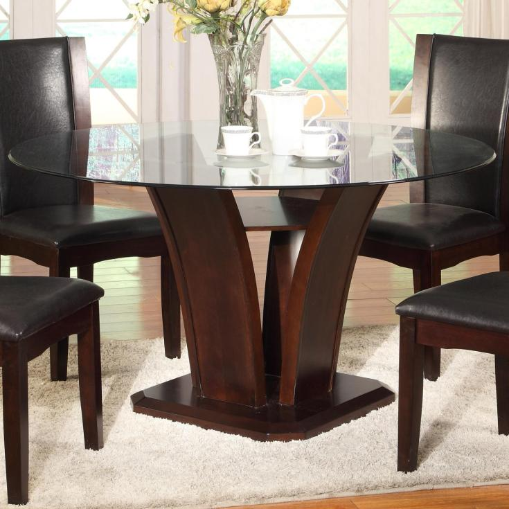 crown mark camelia espresso round glass top dining table with