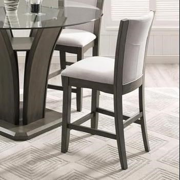 Crown Mark Camelia Grey Counter Height Stool With Upholstered Seat Darvin Furniture Bar Stools