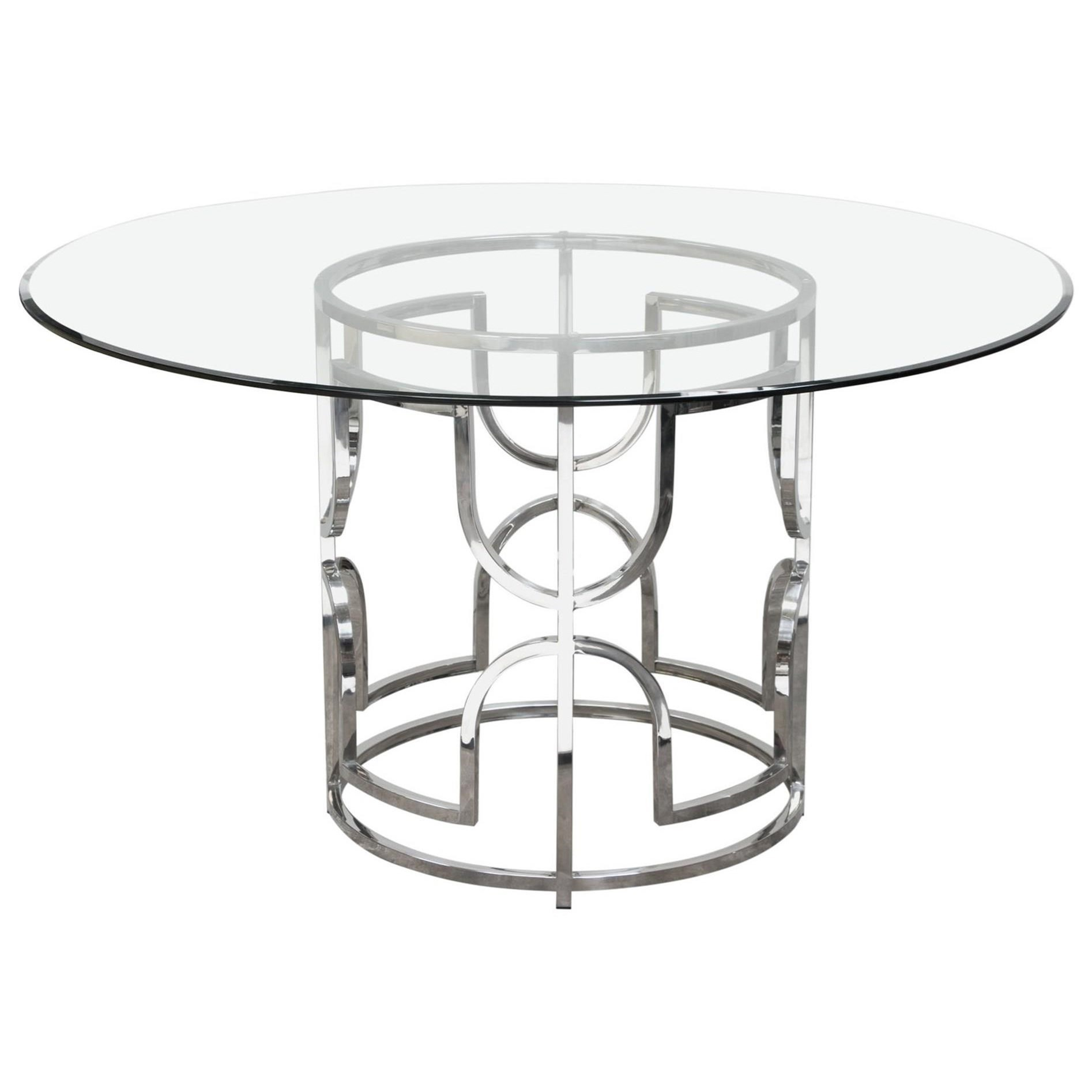 Diamond Sofa Avalon Avalonrdt 54 Round Glass Top Dining
