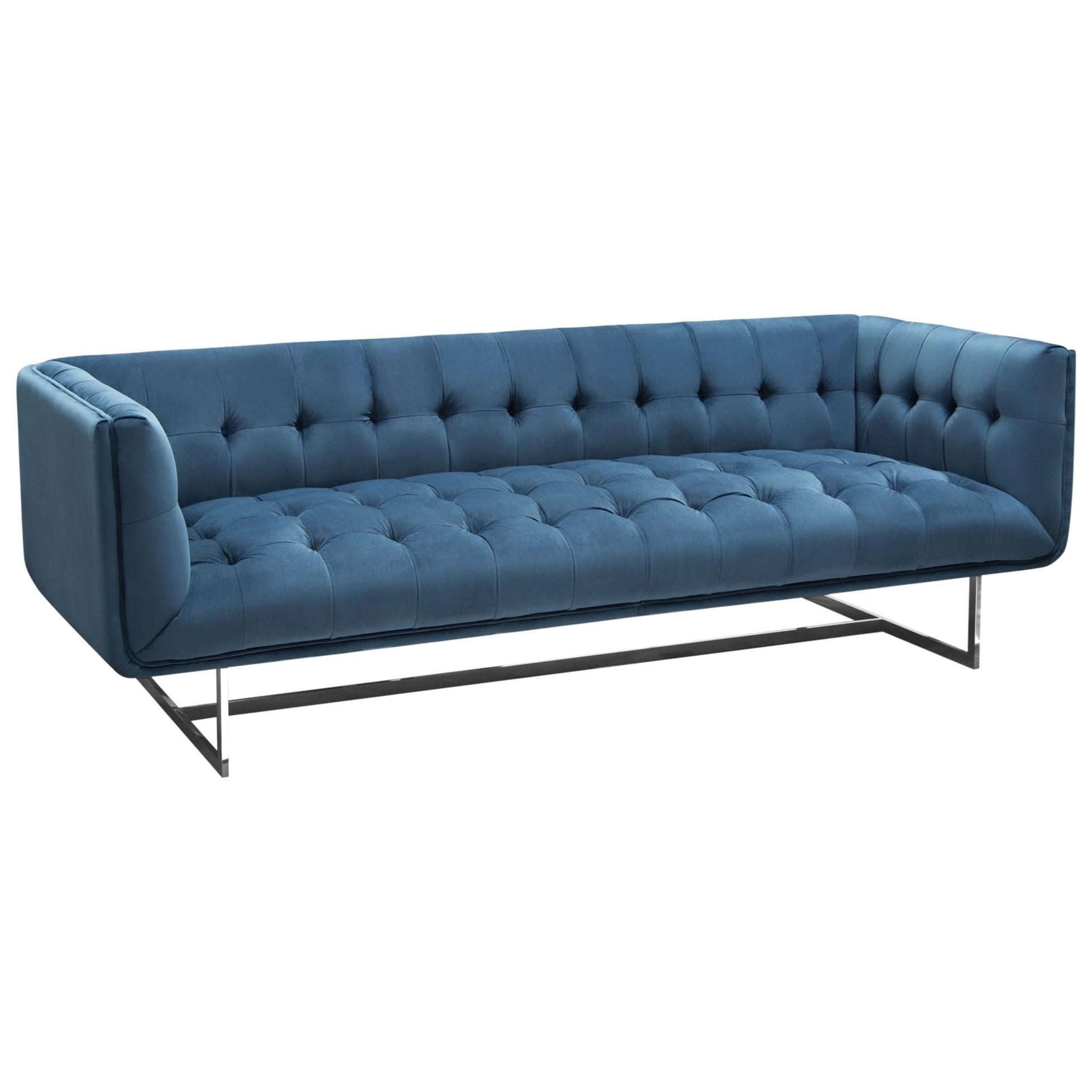 tufted sofa in royal blue velvet