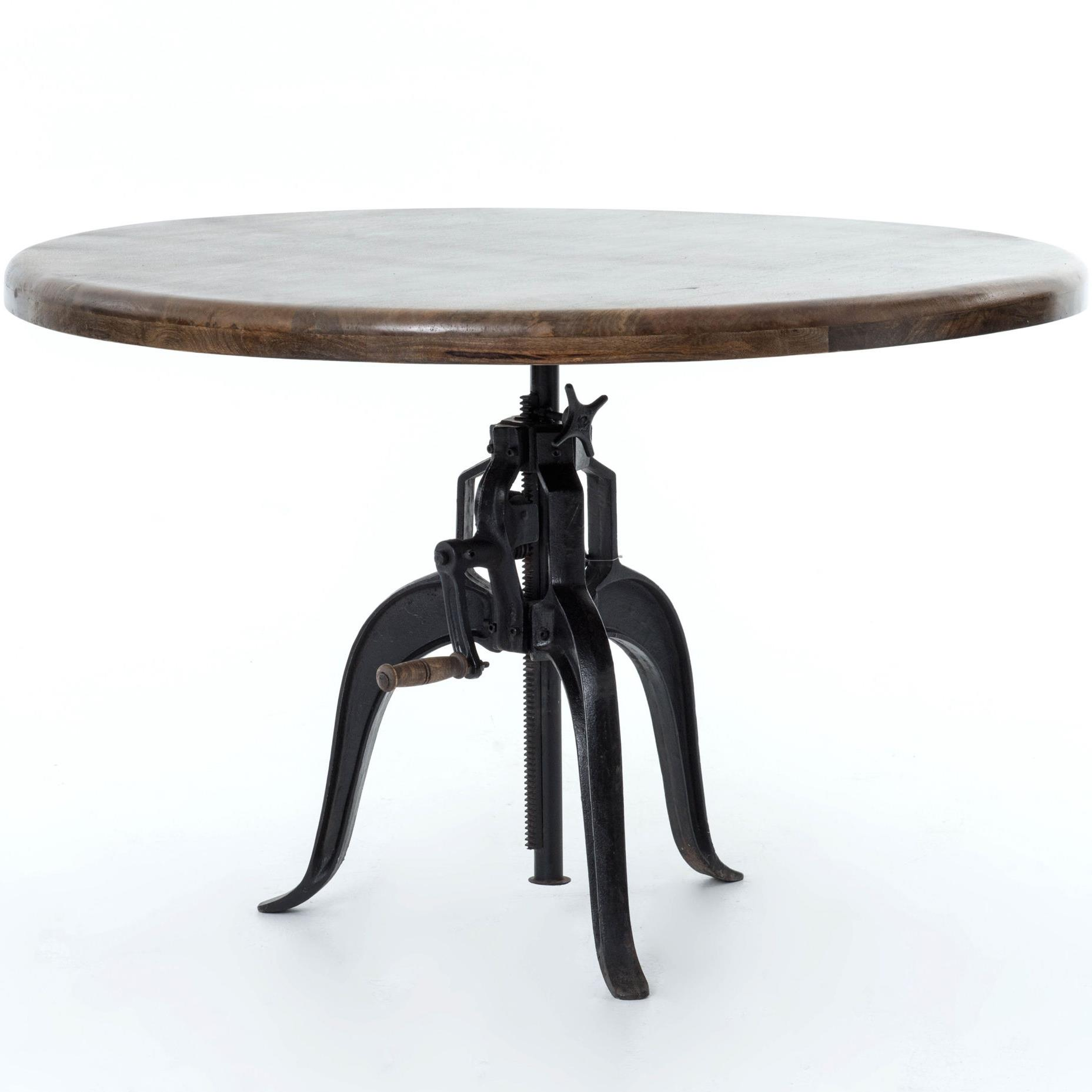 Interior Style Rockwell Adjustable Round Dining Table With Cast Iron Base Sprintz Furniture Kitchen Tables