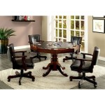 Furniture Of America Rowan Cm Gm339t 5pc Traditional Game Table With Interchangeable Top And 4 Faux Leather Chairs Corner Furniture Dining 5 Piece Sets