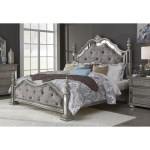 Global Furniture Diana Traditional King Poster Bed With Jeweled Tufting Value City Furniture Poster Beds
