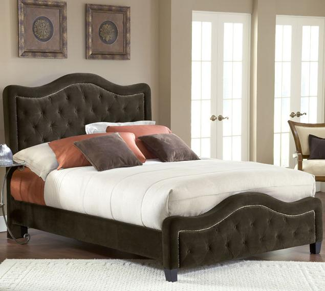 upholstered beds king trieste fabric bed w/ nailhead trimming