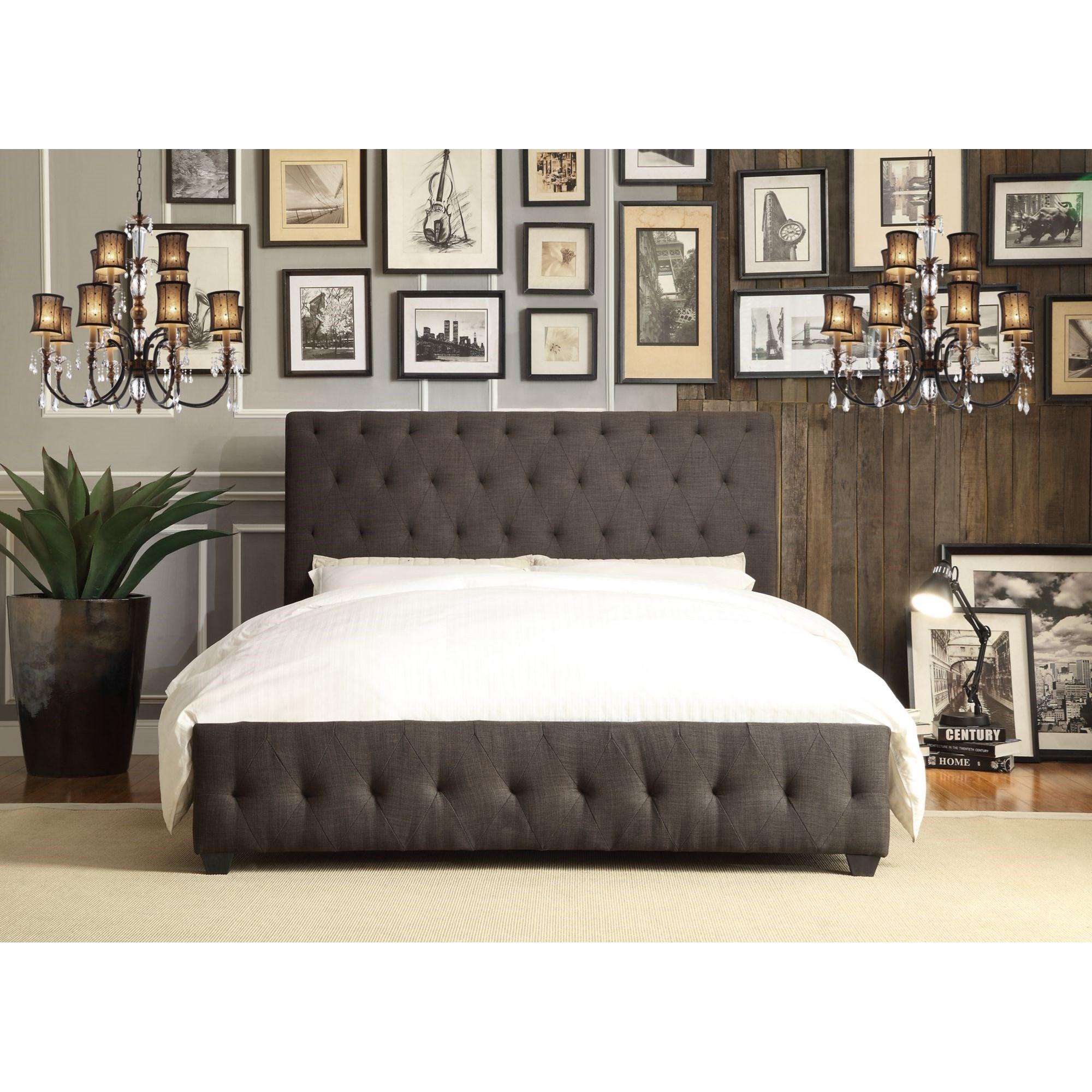 Homelegance Baldwyn Contemporary Full Upholstered Platform Bed With Tufting Darvin Furniture