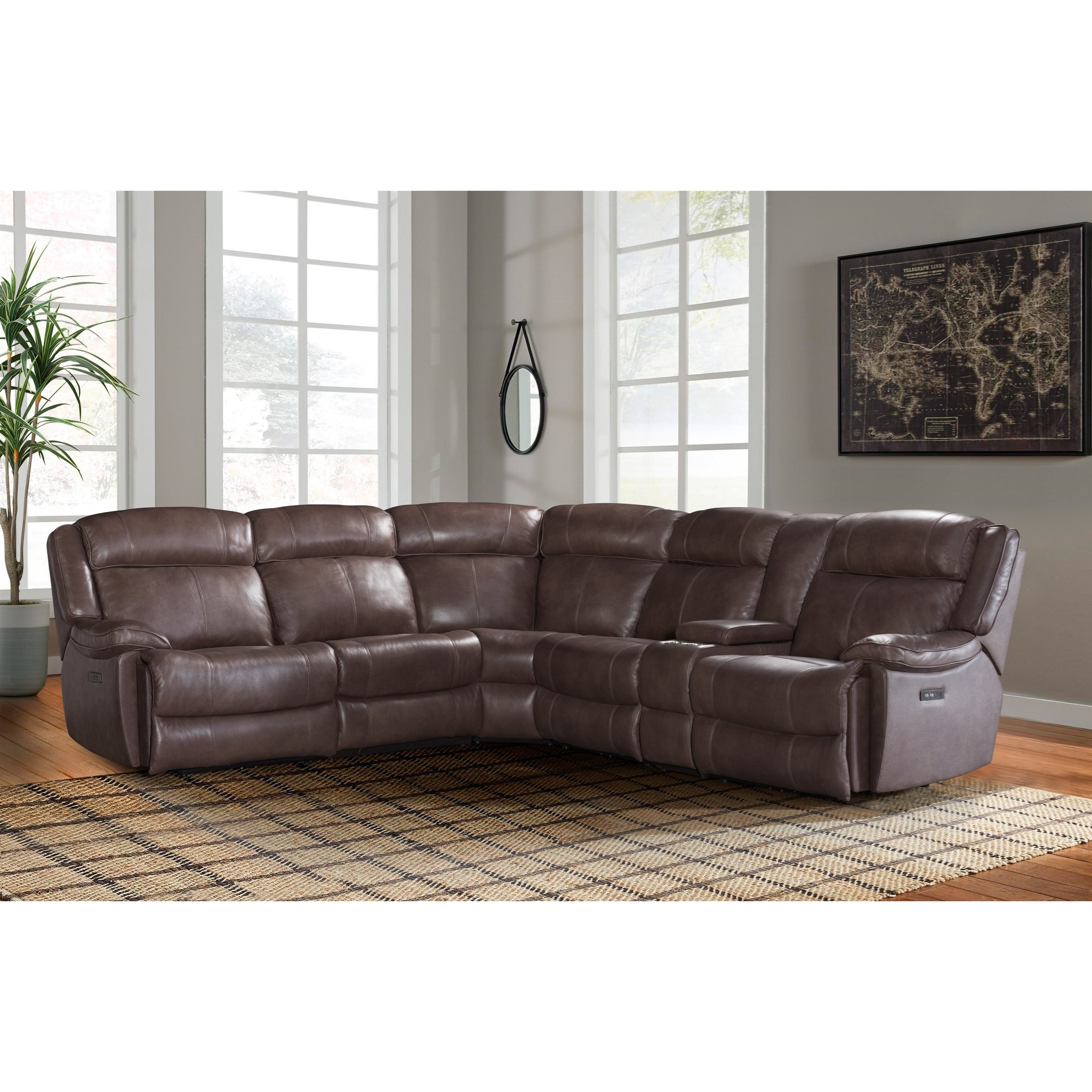 avalon dual power reclining sectional sofa
