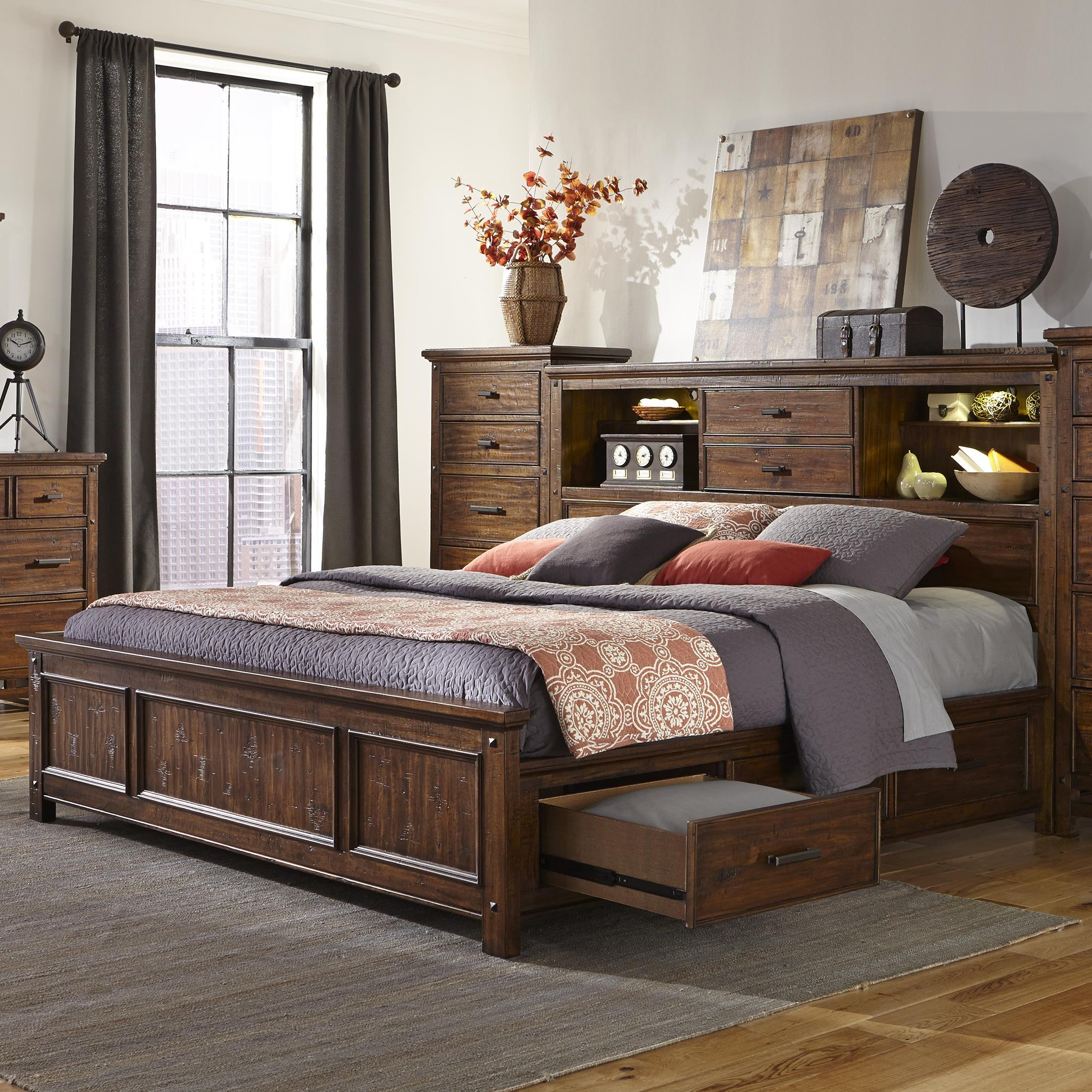 Intercon Wolf Creek Queen Bookcase Bed With Storage Rails Fisher Home Furnishings Bookcase Beds