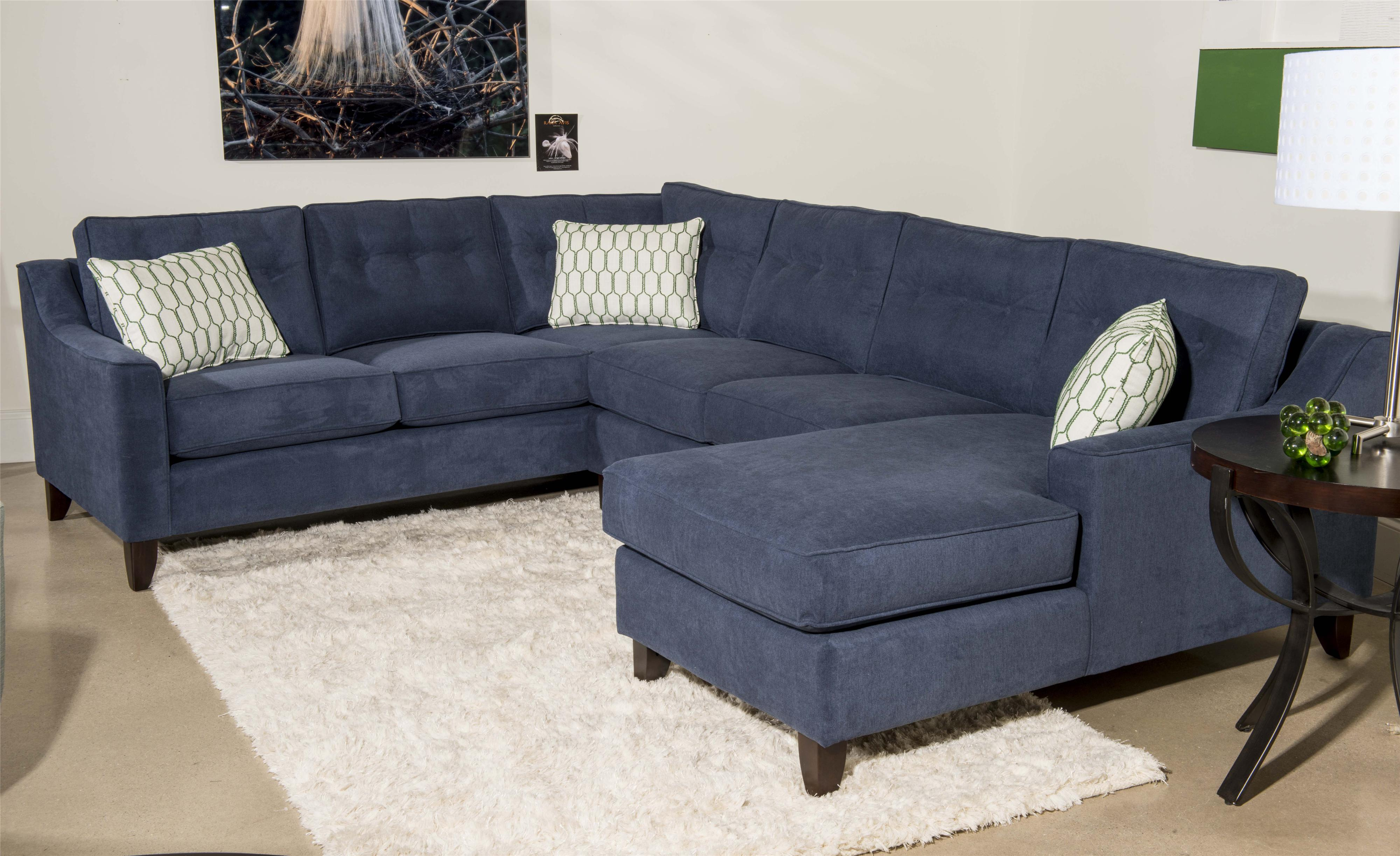Klaussner Audrina Contemporary 3 Piece Sectional Sofa With