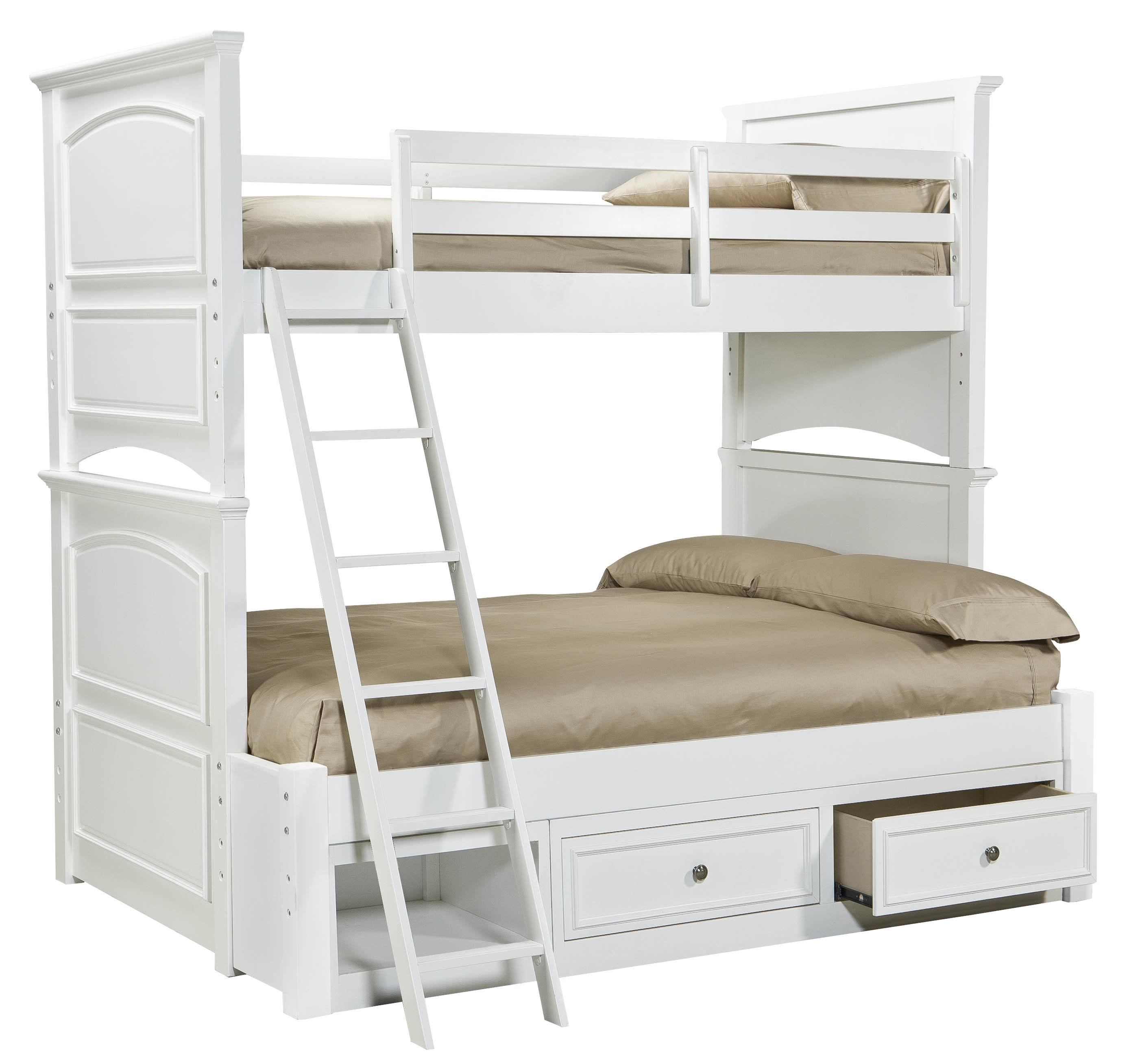 madison classic twin over full size storage bunk bed