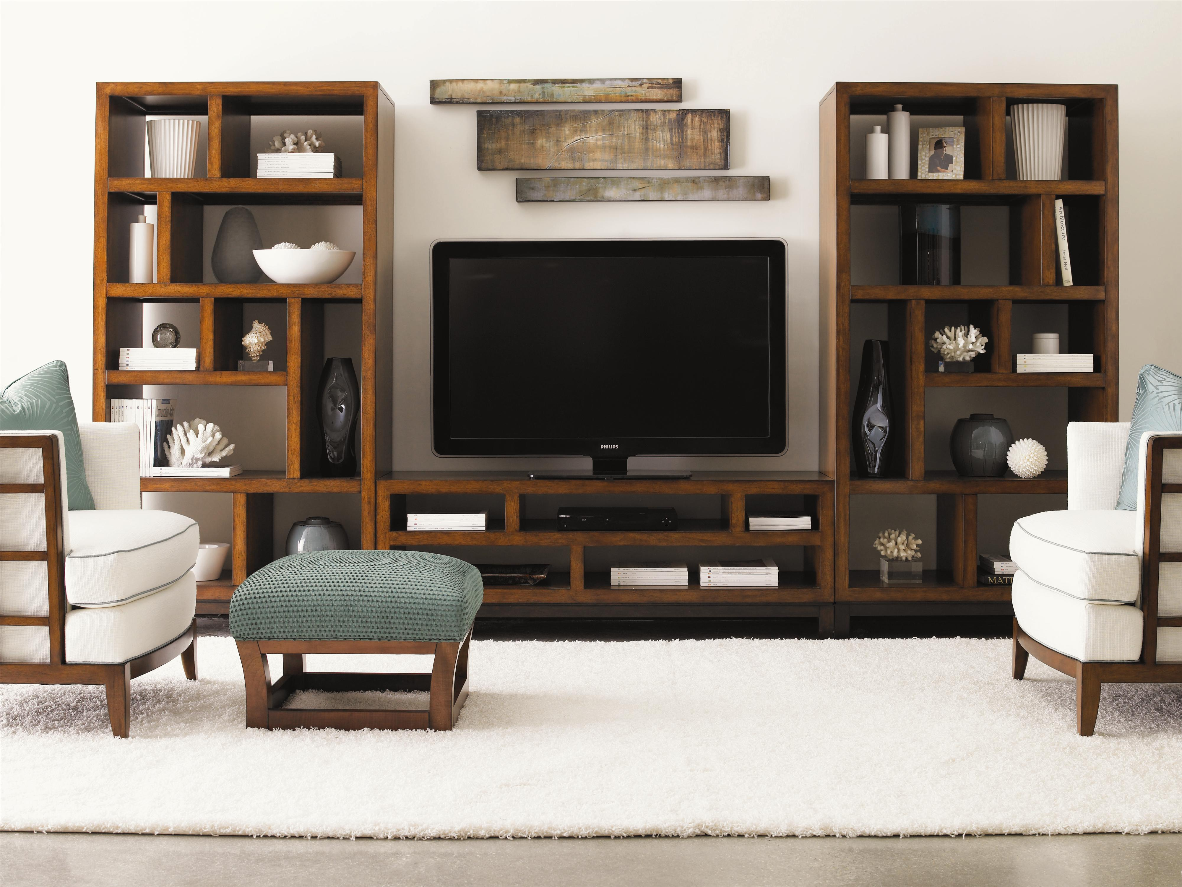 Tommy Bahama Home Ocean Club 536 909 2x991 Pacifica Entertainment Console Two Tradewinds Bookcases Etegeres Wall Unit Baer S Furniture Wall Unit