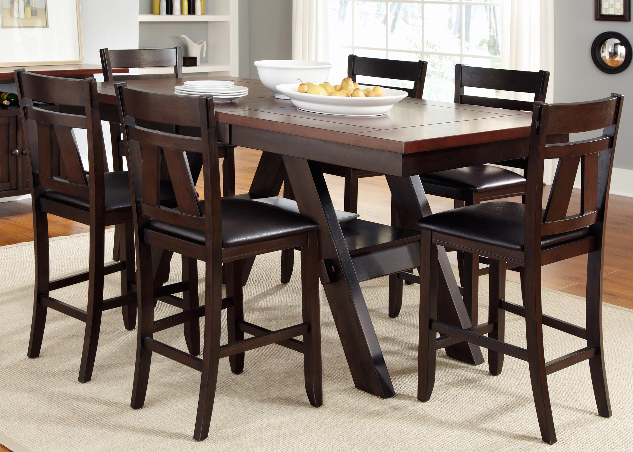 Liberty Furniture Lawson 7 Piece Trestle Gathering Table With Counter Height Chairs Set Darvin Furniture Pub Table And Stool Sets
