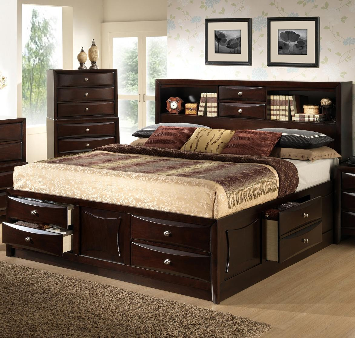 Lifestyle Todd Queen Storage Bed W Bookcase Headboard Royal Furniture Bookcase Beds