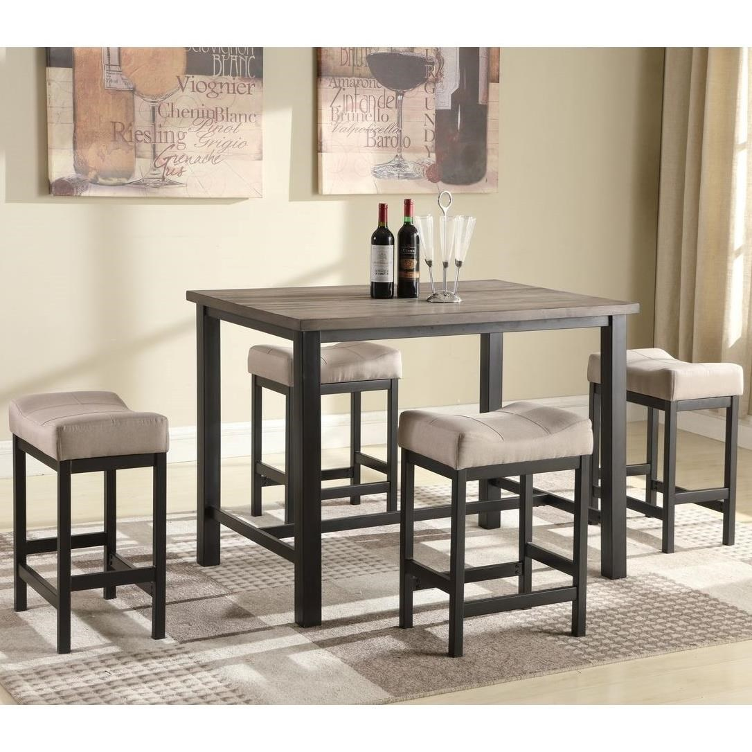 Lifestyle C1861P C1861P P4SF9XKHX Counter Height Pub Table With 4 Backless Stools Sam Levitz