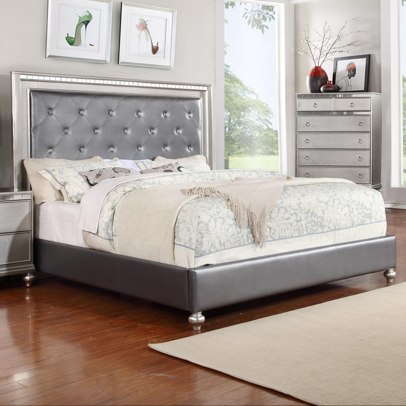 Glam Queen Upholstered Panel Bed With Rhinestone Accent