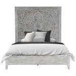 Modus International Boho Chic California King Platform Bed In Washed White With Intricate Headboard A1 Furniture Mattress Platform Beds Low Profile Beds