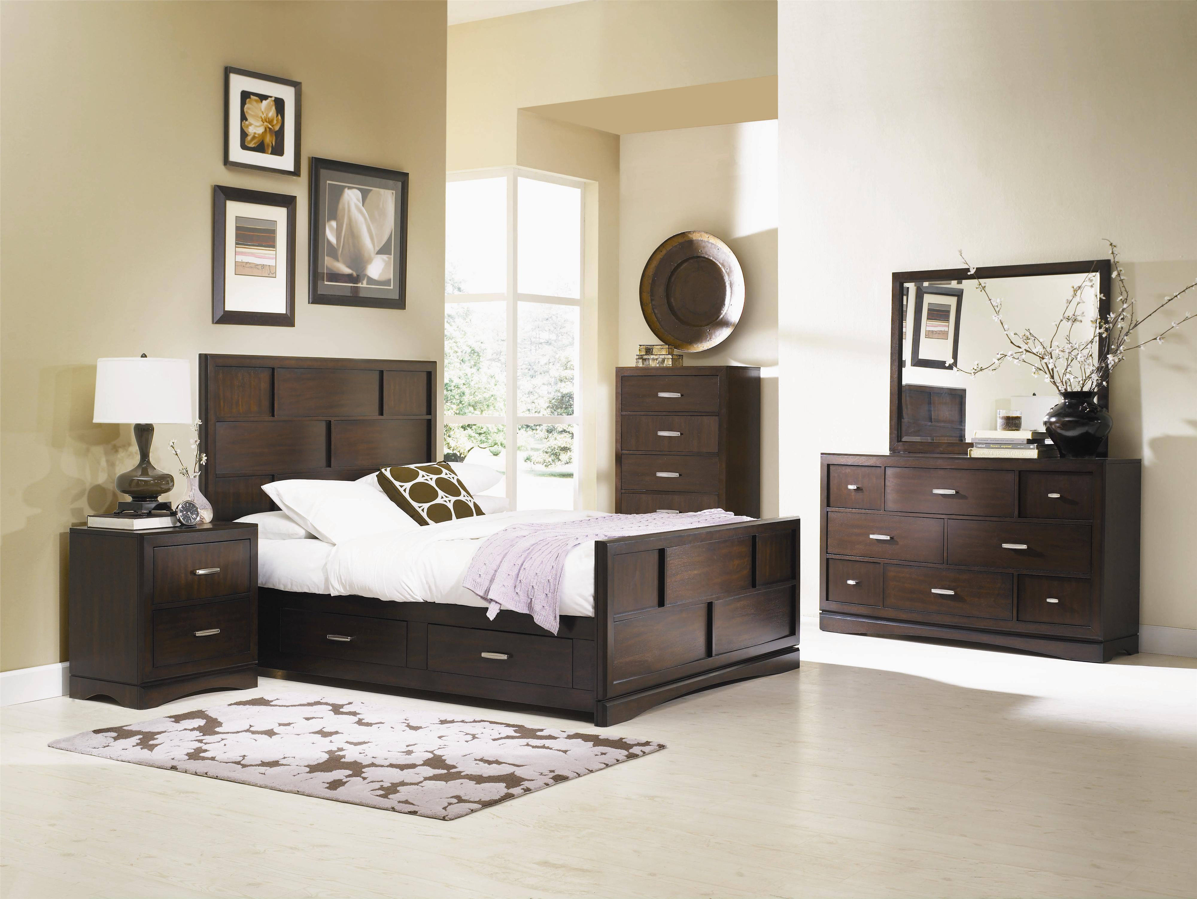 King Size Panel Bed With Grid Detail And Storage Drawers