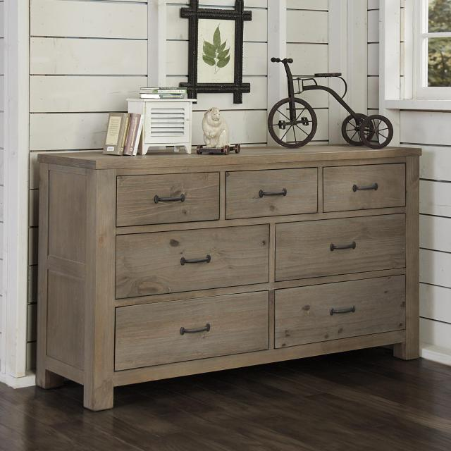 NE Kids Highlands Transitional 7 Drawer Dresser with Driftwood