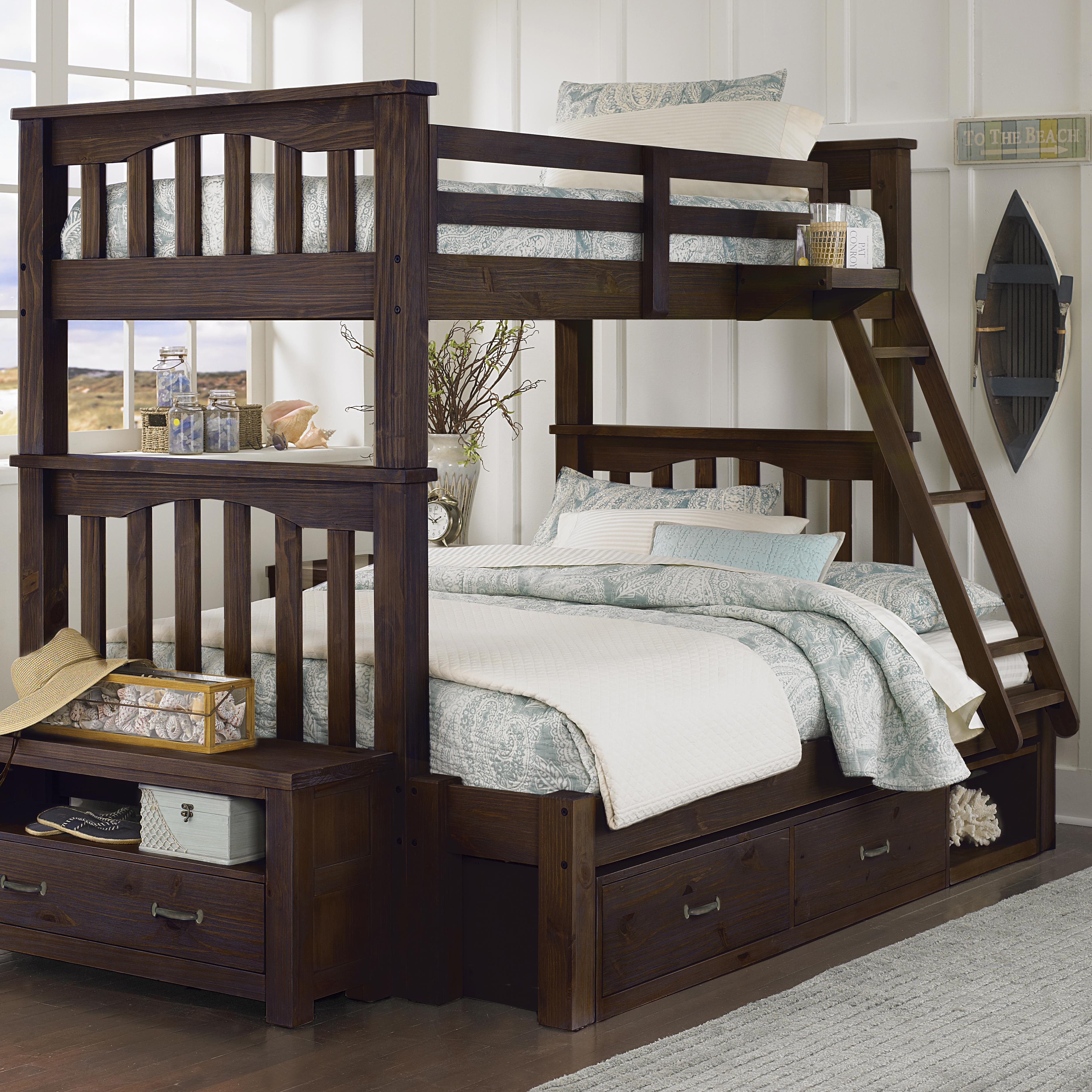 highlands twin over full bunk bed with storage