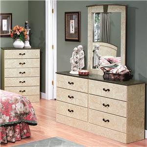 6 drawer dresser portrait mirror set