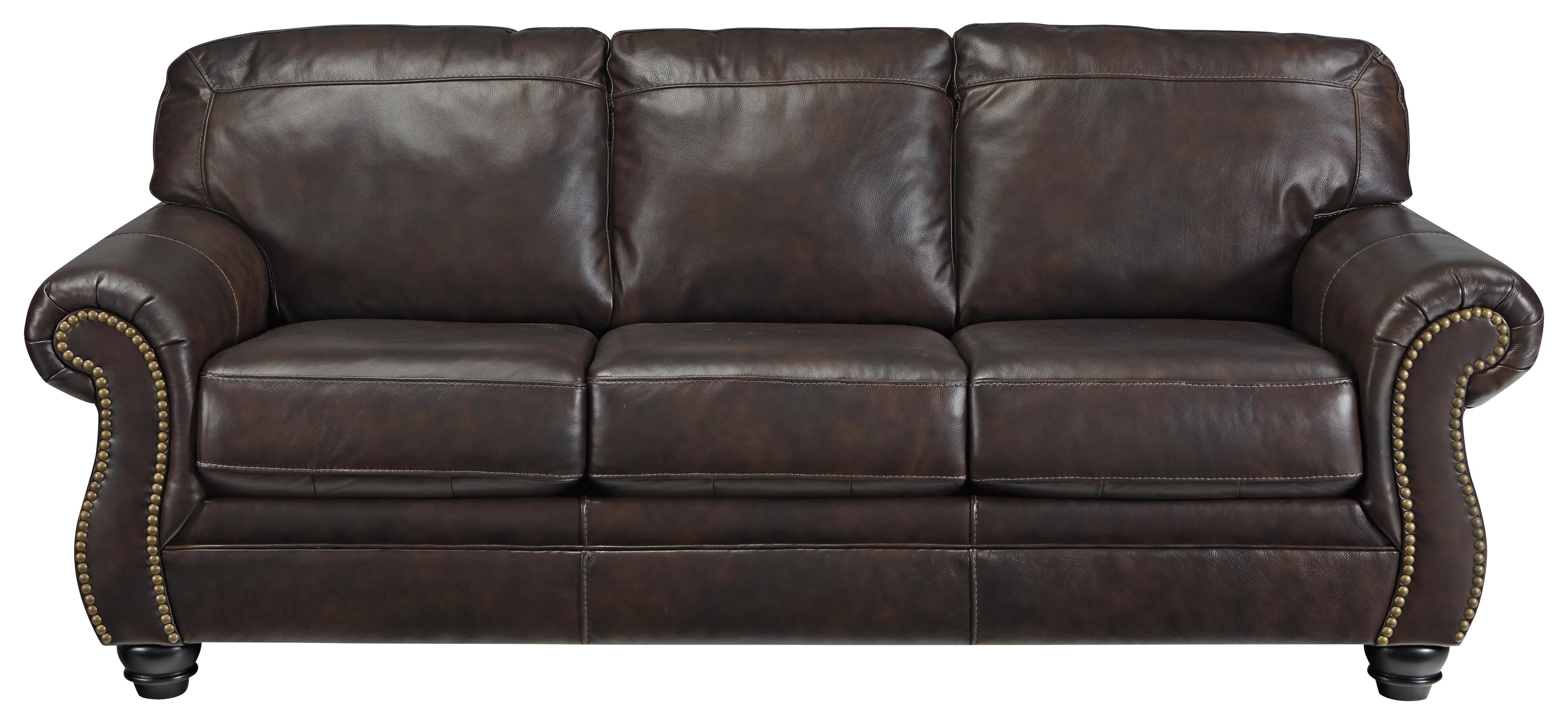 Bristan Traditional Leather Match Queen Sofa Sleeper With Rolled Arms Nailhead Trim By Signature Design By Ashley At Household Furniture