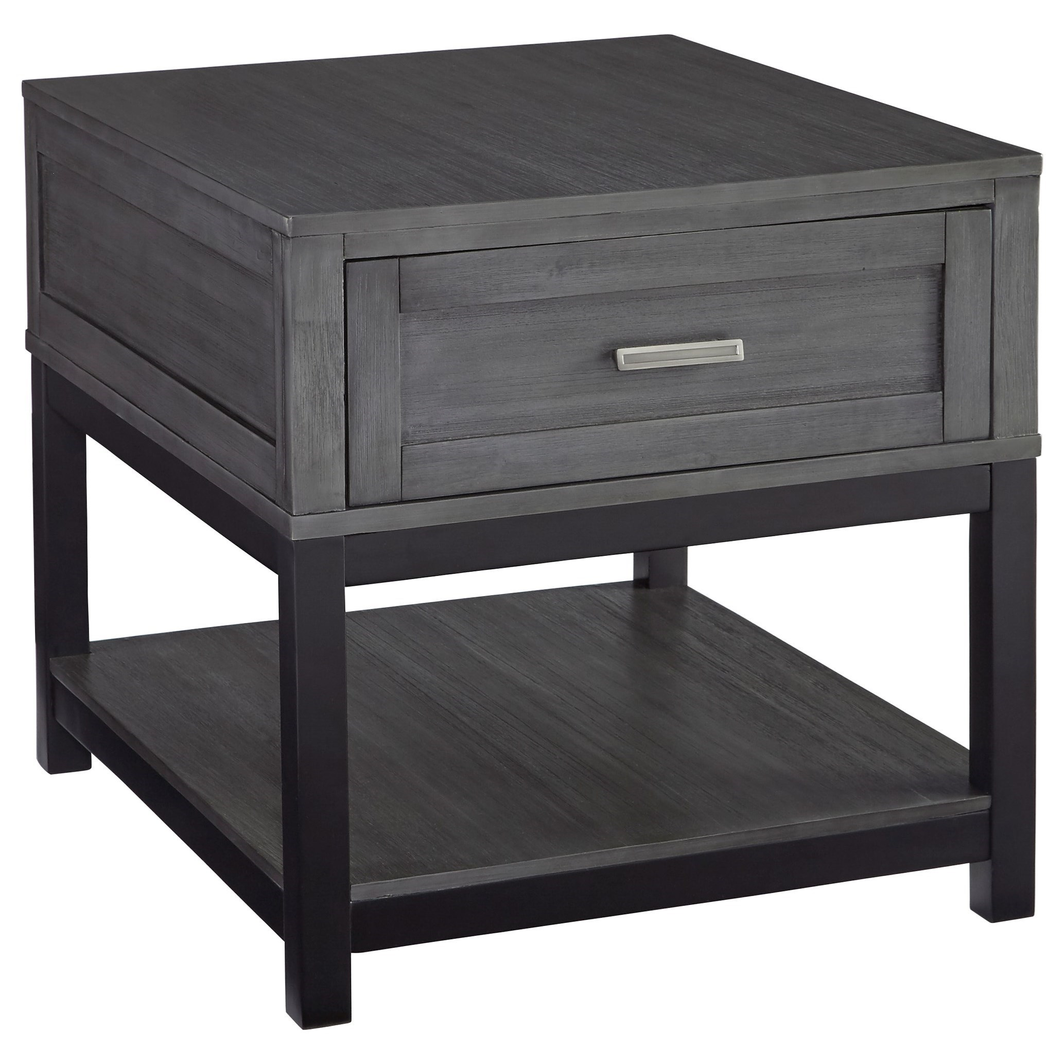 Ashley Signature Design Caitbrook T454 3 Rectangular End Table In Gray Black Finish Dunk Bright Furniture End Tables