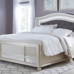 Styleline Fleur B650 158 56 97 King Panel Bed With Arched Upholstered Headboard And Silver Finish Frame Efo Furniture Outlet Upholstered Beds